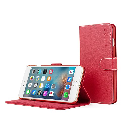 Custodia per iPhone 6 Plus, Snugg - Custodia Rossa a Libretto in Ecopelle con Garanzia a Vita per Apple iPhone 6 Plus