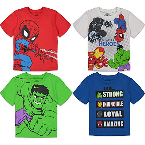 Marvel Super Hero Adventures Toddler Boys 4 Pack T-Shirts Avengers Hulk Spiderman 3T