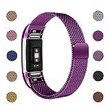 ametonuk - Correa de repuesto compatible con Fitbit Charge 2 correas, acero inoxidable, cierre magnético, pulsera de metal para mujeres y hombres, para Fitbit Charge 2, color morado