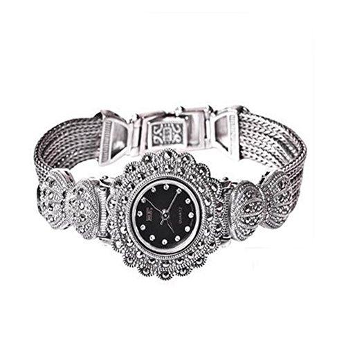 Ladies 925 de mujer lujo Vintage Reloj de pulsera de plata 925 pulsera de plata de ley con marcasita