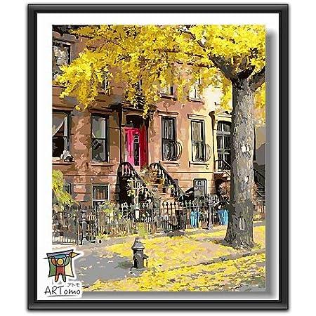 ARTomo【アトモ】パズル油絵『フレーム付き』数字 油画 DIY 塗り絵 本格的な油絵が誰でも簡単に楽しく描ける 40x50cm (ニューヨークの秋)