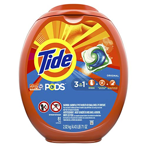Tide PODS, Laundry Detergent Liquid Pacs, Original, 81 Count - Packaging May Vary