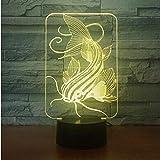 Fish 7 Color Lamp 3D Visual Led Night Lights Para Niños Touch Usb Table Lamp Lamp Baby Sleeping Nightlight Motion Light Habitación Infantil