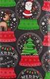 Merry Christmas Santa Reindeer Snow Globes Vinyl Flannel Back Tablecloth (52' x 70' Oblong)