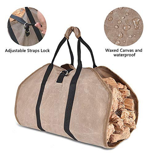 Xtingmeme Waxed Canvas Log Carrier Durable FirewoodFireplace Tote Bag Waterproof Washable Heavy Holder with Handle and Adjustable Strap39inches x 18inches
