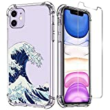 LUXVEER iPhone 11 Case with Tempered Glass Screen Protector,Seawaves Pattern on Soft TPU Bumper Cover for Grils Women,Shockproof Slim Fit Protective Phone Case for Apple iPhone 11 6.1 inch
