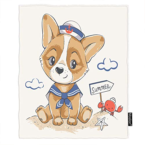 Moslion Dog Blanket Cute Puppy in Navy Blue Sailor Anchor Hat On Beach with Crab Starfish Throw Blanket Flannel Home Decorative Soft Cozy Blankets 40x50 Inch for Baby Kids Pet