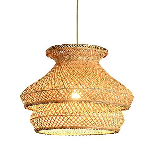SHUANF Araña de Tejer Vintage Lámpara de Techo de bambú Art Lámpara Colgante de Pantalla Tejida de ratán Accesorio de iluminación E27 para Dormitorio, Sala de Estar, Comedor, cafetería, Bar, 15.8IN /
