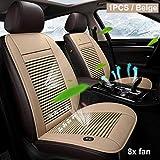 Autoaccesorio 8 incorporado Cojín ventilador de refrigeración de cobertura de verano universal 12V for la mayoría de los asientos del vehículo ventilador de aire ventilada acondicionado refrigerador d