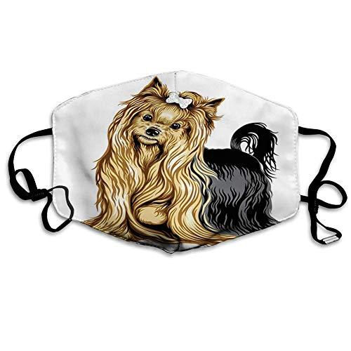 Mundschutz Mundabdeckung Gesichtsbedeckung Realistische Zeichnung Langhaariger Yorkie Haustier Netter Hund mit mildem Ausdruck