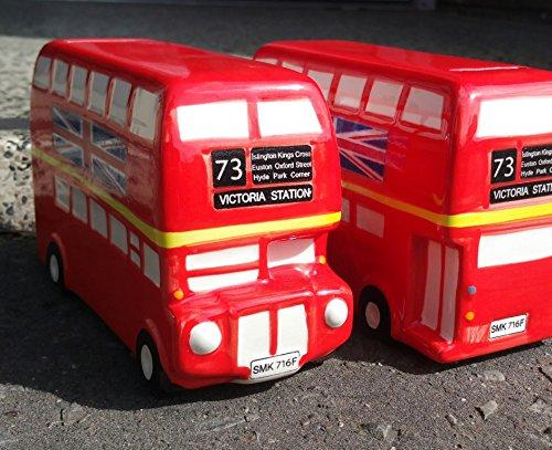 De autobús de dos pisos de la ruta Master - Hucha - Hucha de cerámica diseño de autobuses de Londres - 18 cm de largo