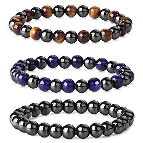 CASSIECA 3PCS Beads Bracelets for Men Women Tigers Eye Bracelet Natural Stone Bracelet Rock Punk Goth Bracelet Elastic Set