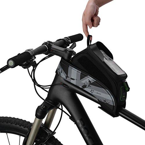 ROCKBROS Fahrrad Rahmentaschen Wasserfeste Taschen Für Bild Schirm 5.8''/6.0'' (Grau, 5.8 Zoll)