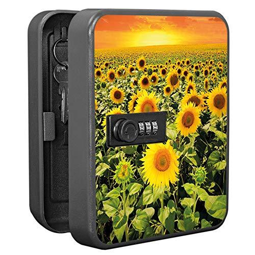banjado Burg-Wächter abschließbarer Schlüsselkasten mit Motiv Sonnenblumenmeer   Schlüsselbox mit Zahlenschloss   für 20 Schlüssel   Stahlblech schwarz 20x16x7,4cm groß