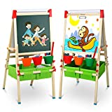 Tomons Art Easel for Kids, Adjustable Wooden Kid's Art Easel with Dry-Erase Board, Chalkboard, Paper Roll and Accessories