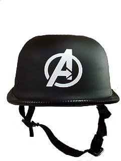 Kart Trade Men's German Style Avengers Motorbike Helmet (Matt Black, Medium)