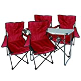 Mojawo 5tlg. Campingmöbel Set Alu 80x60x68cm 1x XL Campingtisch mit Tragegriff + 4 Anglerstühle, Faltstühle Campingstühle rot