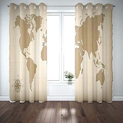 Musesh Map Curtains for Windows Basement Window Curtains 2 Panels,52X63 Inch an Old Map of The World Window Curtain Bath Window Curtain for Bedroom Living Room Dorm
