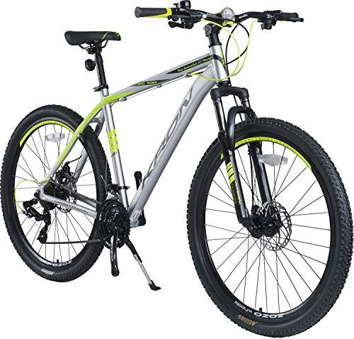 KRON XC-100 Hardtail Aluminium Mountainbike 29 Zoll, 21 Gang Shimano Kettenschaltung mit Scheibenbremse | 18 Zoll Rahmen MTB Erwachsenen- und Jugendfahrrad | Grau Gelb