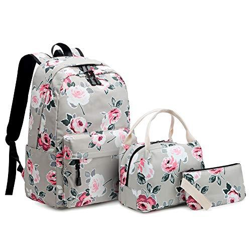 Idubai Girls Backpack Set Canvas Travel Bags Fashion Floral Bookbags Set 3 in 1
