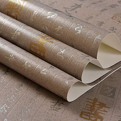 Niet-zelfklevende milieubescherming behang Moderne kalligrafie kalligrafie en schilderen Retro Dik behang Woonkamer Studie Restaurant behang Taupe