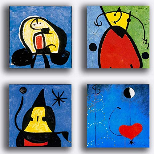 Printerland - Cuadros estilo mirò impresion sobre lienzo azul, 4 piezas, 30 x 30 cm, decoracion artistica abstracto XXL, decoracion para salon, dormitorio, cocina, restaurante, bar, restaurante