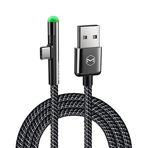 Mcdodo Cable USB de nylon trenzado tipo C y adaptador con sincronización de datos para Samsung, Huawei y LG Xiaomi (LED en forma de L de ángulo recto de 90 grados) 1.5m cilíndrica
