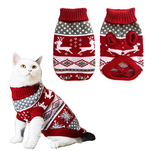 Vehomy Dog Christmas Sweaters Pet Winter Knitwear Xmas Clothes Classic Warm Coats Reindeer Snowflake Argyle Sweater for Kitty Puppy Cat-XS