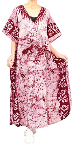 LA LEELA dames katoen kaftan tuniek batik kimono vrije maat lange maxi party jurk voor loungewear vakantie nachtkleding strand elke dag jurken DB