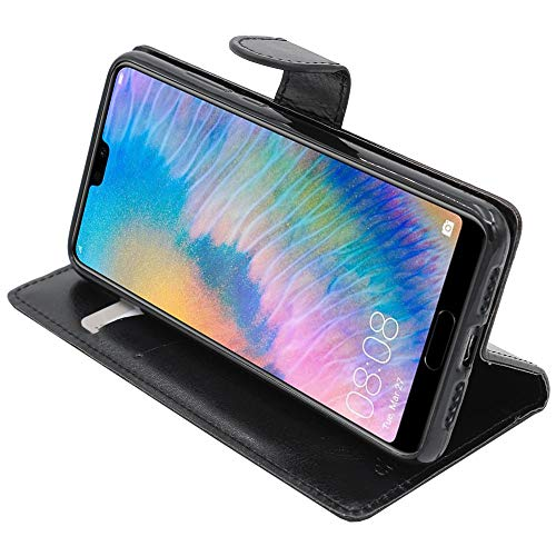 ebestStar - kompatibel mit Huawei P20 Hülle Kunstleder Wallet Hülle Handyhülle [PU Leder], Kartenfächern, Standfunktion, Schwarz [P20: 149.1 x 70.8 x 7.7mm, 5.8'']
