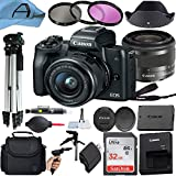 Canon EOS M50 Mirrorless Digital Camera with EF-M 15-45mm is STM Zoom Lens, SanDisk 32GB Memory Card, Case, Tripod, 3 Pack Filters and A-Cell Accessory Bundle (Black)
