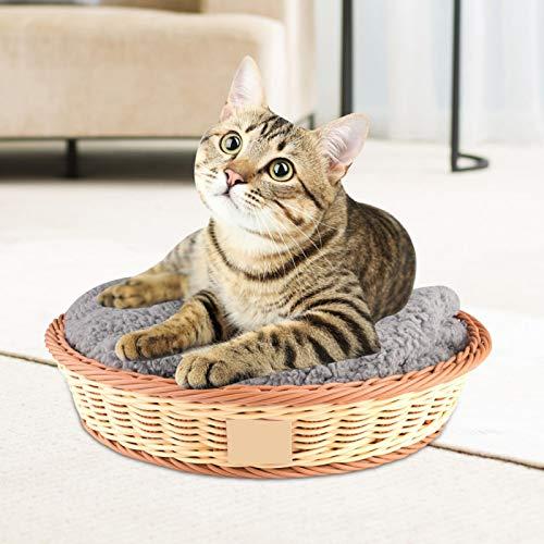 SALUTUYA Handgewebter Hund in runder Form für 4 Jahreszeiten 40 * 30,5 * 10,5 cm Nest