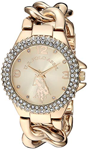 U.S. Polo Assn. Reloj de cuarzo para mujer de metal y acero inoxidable, color: dorado (modelo: USC40242)