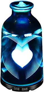 AWJ 3D 120ML LED Night Light Air Humidifier Glass Vase Shape Aroma Essential Oil Diffuser Mist Maker Ultrasonic Humidifier Gift,Home,B