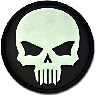 Bastion Tactical Combat Badge PVC Morale Patch Hook and Loop Patch - Bastion Glow Skull