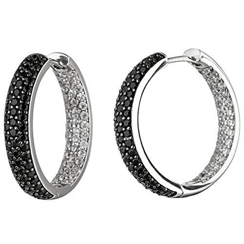 Pendientes de aro con cierre de clip, 25 mm, con circonitas, color negro y blanco, plata 925