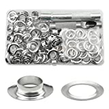 TOVOT 100 Set 1/2 inch Grommet Kit Silver Metal Grommets Eyelets,Grommet Setting Tool for Canvas Shoe Clothes Leather Crafts