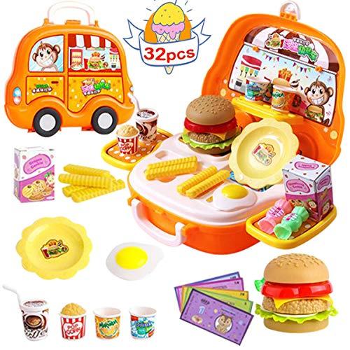 Lychee 32 Pezzi Giocattolo da Cucina Set per Bambini,Hamburger Torte caffè Playset Apprendimento Educativo Giocattolo Ragazzo Ragazza Bambino,Gioco di Ruolo