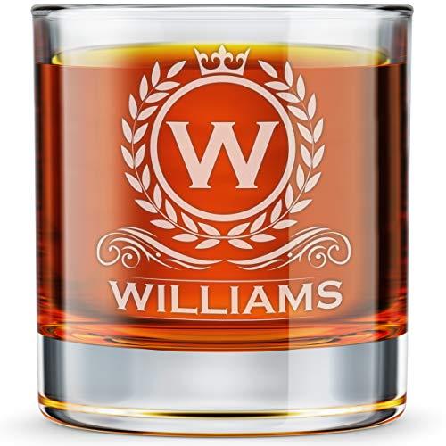 Personalized Whiskey Glass, Engraved Monogram Rocks Cocktail Glass, 10.25 oz Custom Bourbon Gift For Men