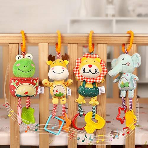 HoneybeeLY Juguete para cochecito de música, 4 piezas, juguete colgante para cochecito, cuna, sonajero de bebé, juguetes suaves con sonajeros para niños