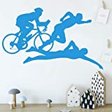 wukongsun Sport Schwimmen Fahrrad Vinyl Aufkleber wanddekoration Wohnzimmer Gymnasium wanddekoration wandbild 45 cm X 72 cm