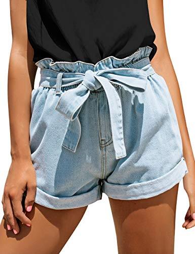 Utyful Women's Comfy Removable Belt Casual Elastic Waist Wide Leg Denim Shorts Pastel Blue Large