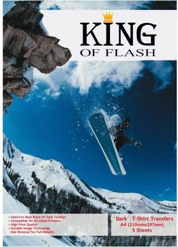 KING OF FLASH Premium 5 Pack Dark T-Shirt Photo Transfer Papier, Hoge printkwaliteit, Duurzame beeldtechnologie