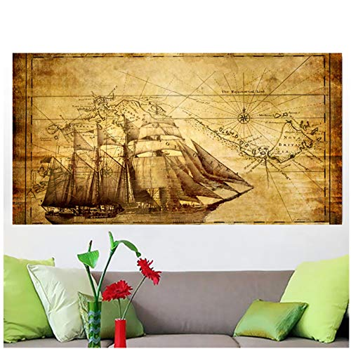 sjkkad Grote oude bootkaarten ter wereld poster muurkunst wooncultuur schilderij op canvas voor woonkamer kantoor slaapkamer 60 x 90 cm geen lijst