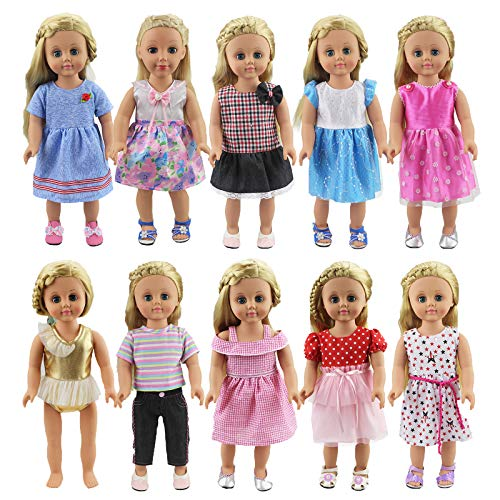 XADP 10 Sets 18' Doll Clothes Outfits Gift for American Girl Doll Clothes and Accessories,and Other 18' Dolls
