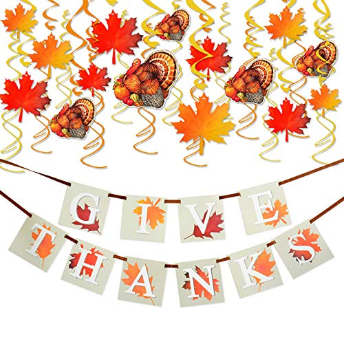 Best Bargain KALEFO 36PCS Thanksgiving Decorations with GIVE Thanks Banner and Turkey Maple Leaves G...