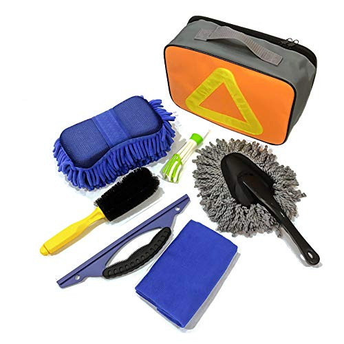 Cepillo de rueda Kit de herramientas de limpieza de lavado de automóviles 7 unids Cepillo de rueda de neumático de coche Paños de toalla de microfibra con esponja con bolsa de almacenamiento Cepillo d