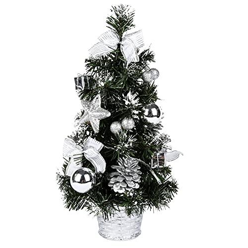 40CM Mini Arbre Sapin Artificiel de Noêl avec lumières LED and Ornament,Petit Sapin de noël décoré pour la Décoration de Fête à Domicile et Affichage de L'artisanat (B)
