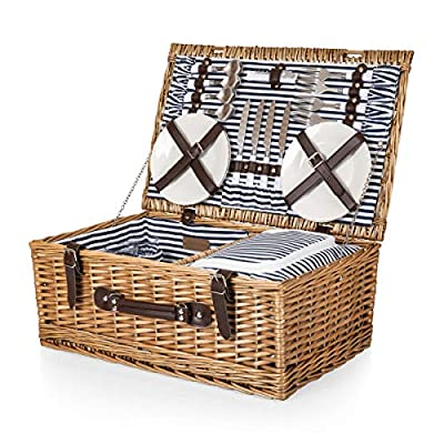 Belmont Wicker Picnic Basket with Deluxe Service for Four, Navy/White Stripe