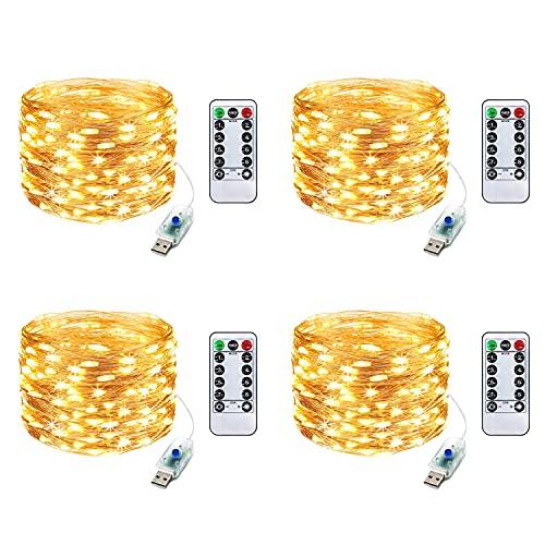 ITICdecor Guirnalda de luces LED USB con cable de cobre de 100 LED, con mando a distancia, decoración para dormitorio, fiesta, boda, Navidad, blanco cálido, 4 unidades